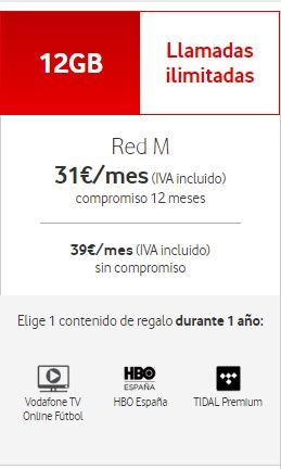 Tarifa Móvil Red M HBO