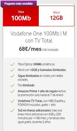 Vodafone One 100MB M TV Total HBO