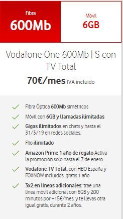 Vodafone One 600MB S TV Total HBO