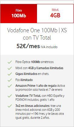 Vodafone One 100MB XS TV Total HBO